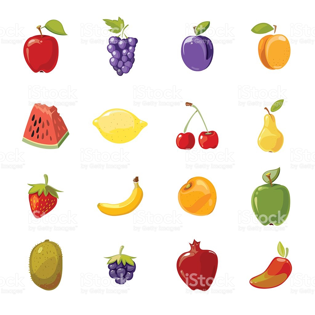 Vector Juicy Fruits Collection Isolated Over White stock vector.