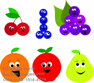 Clip Art Image of a Collection of Cartoon Fruit Icons.