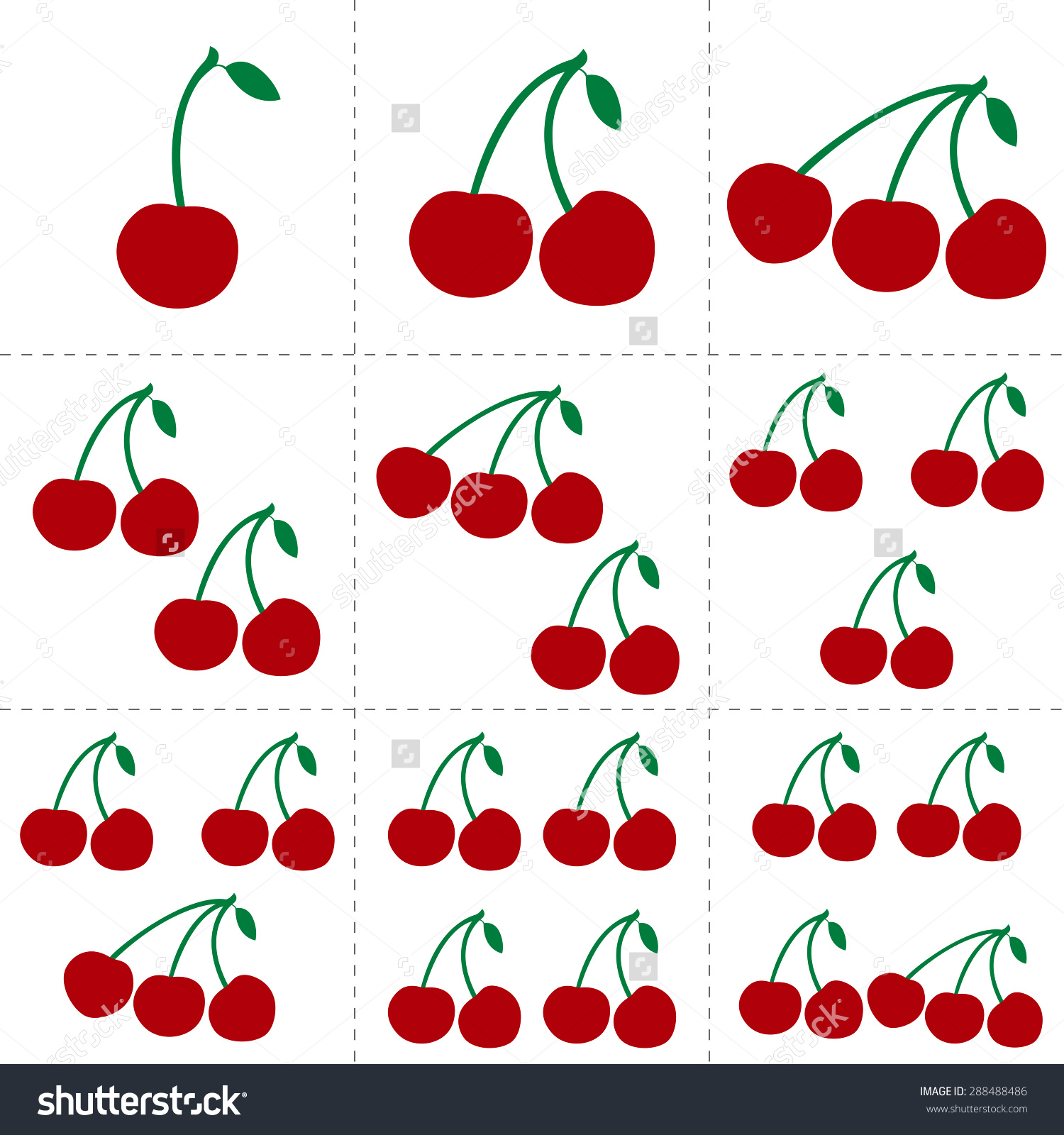 Fruit Collection For Children Design. Flash Cards For Counting.