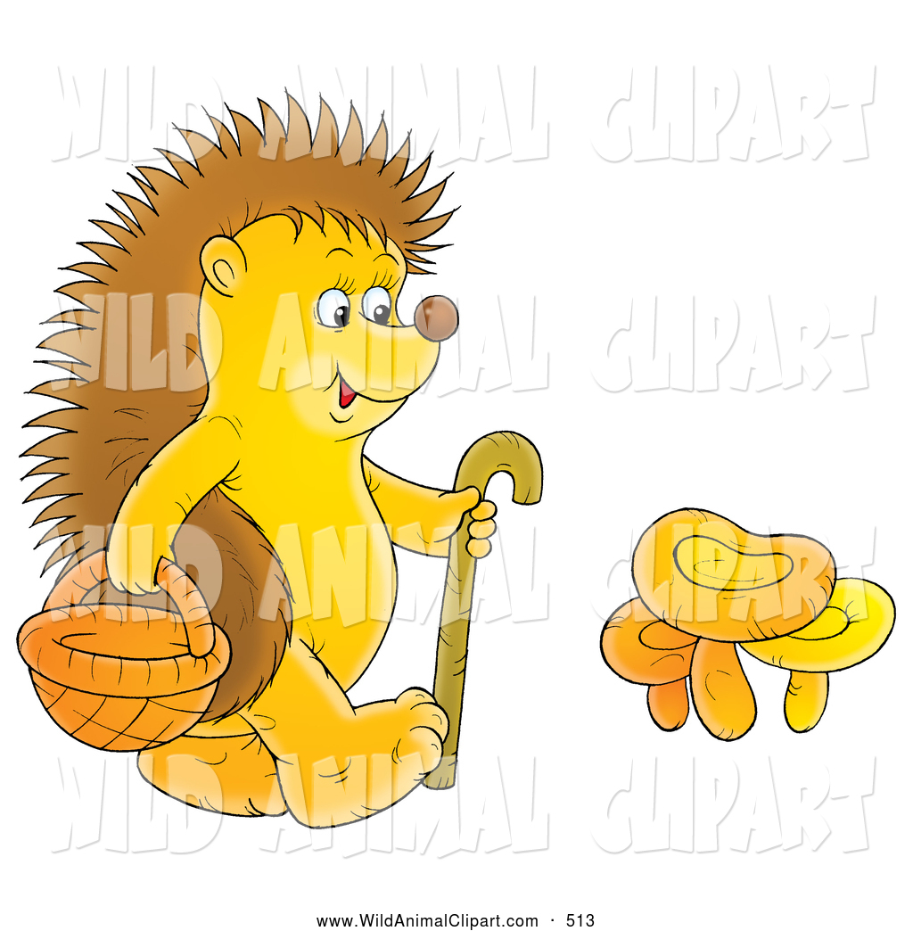 Clip Art of a Happy Hedgehog Walking with a Cane and Basket.