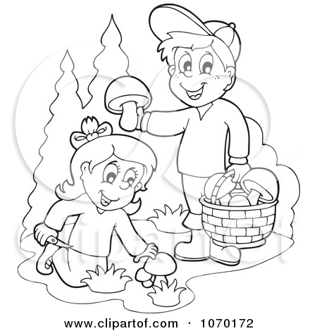 Clipart Outlined Kids Picking Mushrooms.