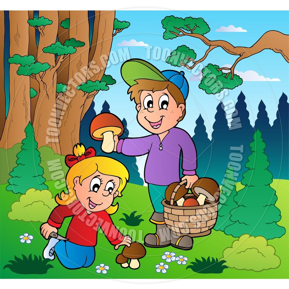 Cartoon Kids Picking Mushrooms By Clairev Toon Vectors Eps 39365.
