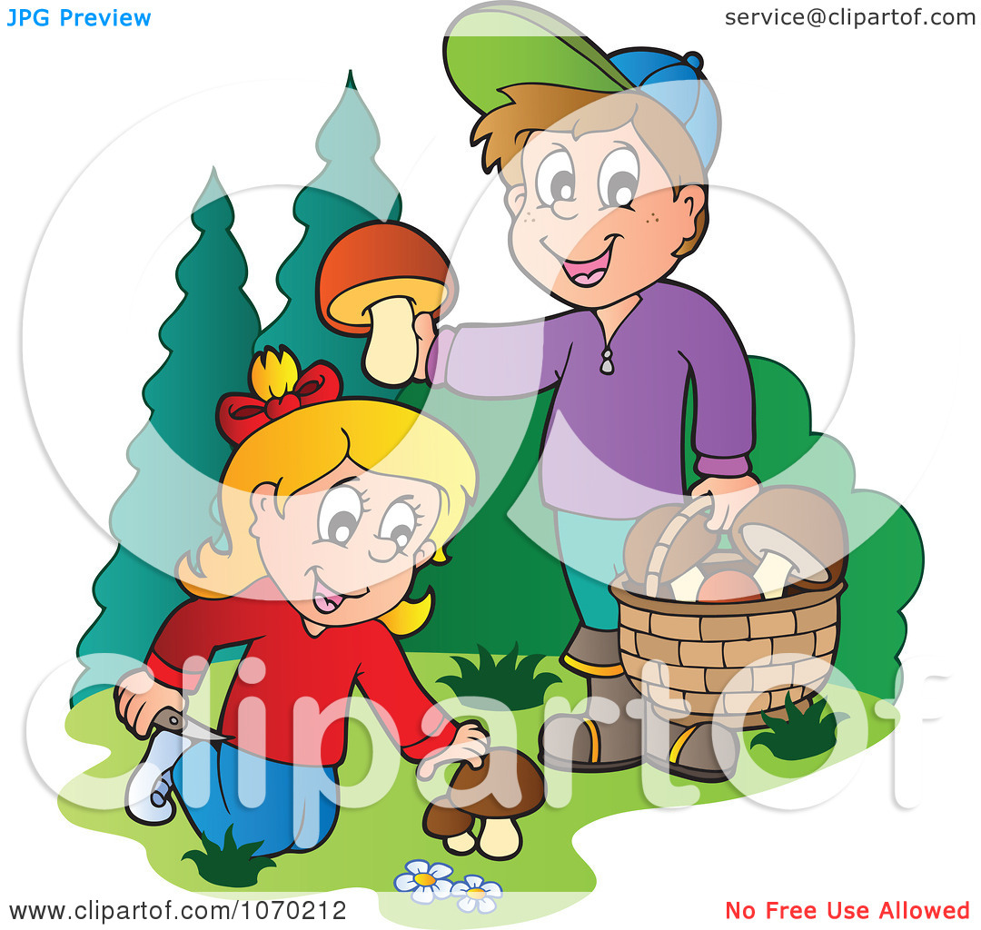 Clipart Two Kids Picking Mushrooms.