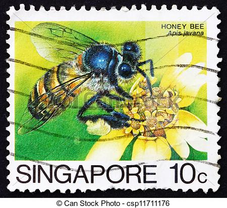 Picture of Postage stamp Singapore 1985 Honey Bee Collecting.