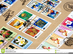 Collecting Stamps Clipart.