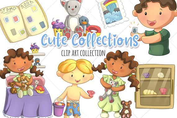 Kids Collecting Things Cute Clipart, Kawaii Collections, Cute Collections,  Stamp Collecting Clip Art, Kawaii Animals Clipart, Cute Kids.
