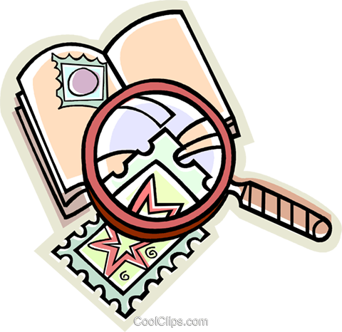 stamp collecting, stamps Royalty Free Vector Clip Art illustration.