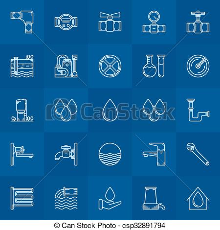 EPS Vectors of Water supply line icons.
