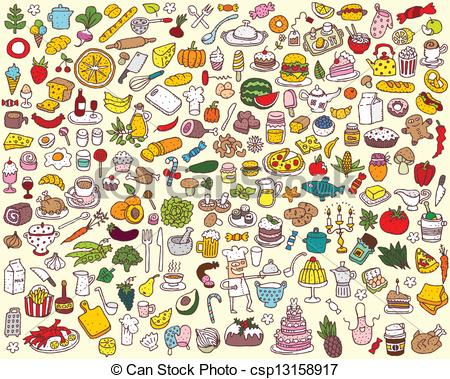 Vector Clip Art of Big Food and Kitchen Collection of fine small.