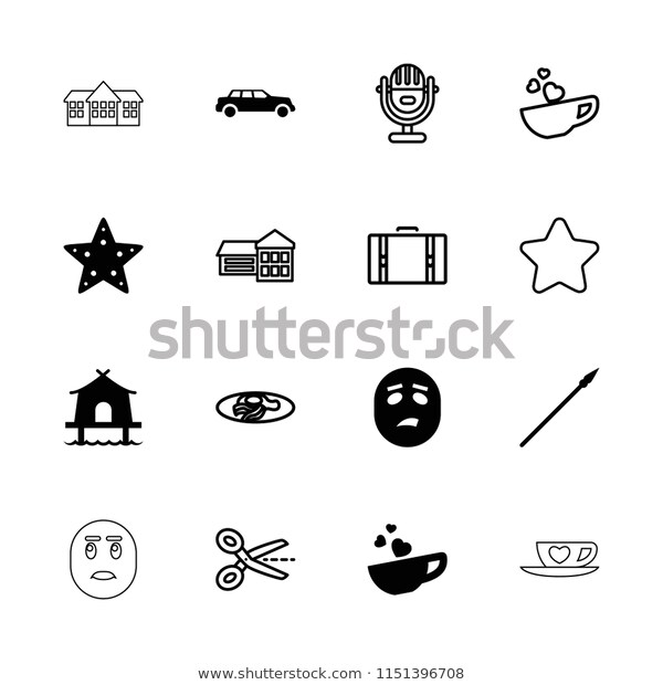 Clipart Icon Collection 16 Clipart Filled Stock Vector.