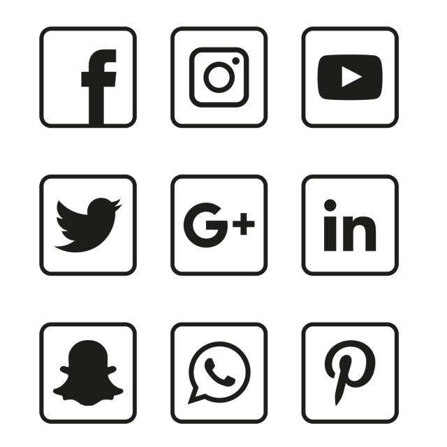 Social Media Black Icons Set, Social, Media, Icon PNG and Vector.