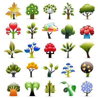 Beautiful Seasonal Tree Icon Collection, Vector Graphic.
