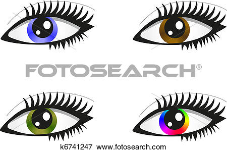 Clip Art of Collection beautiful colored eyes k6741247.