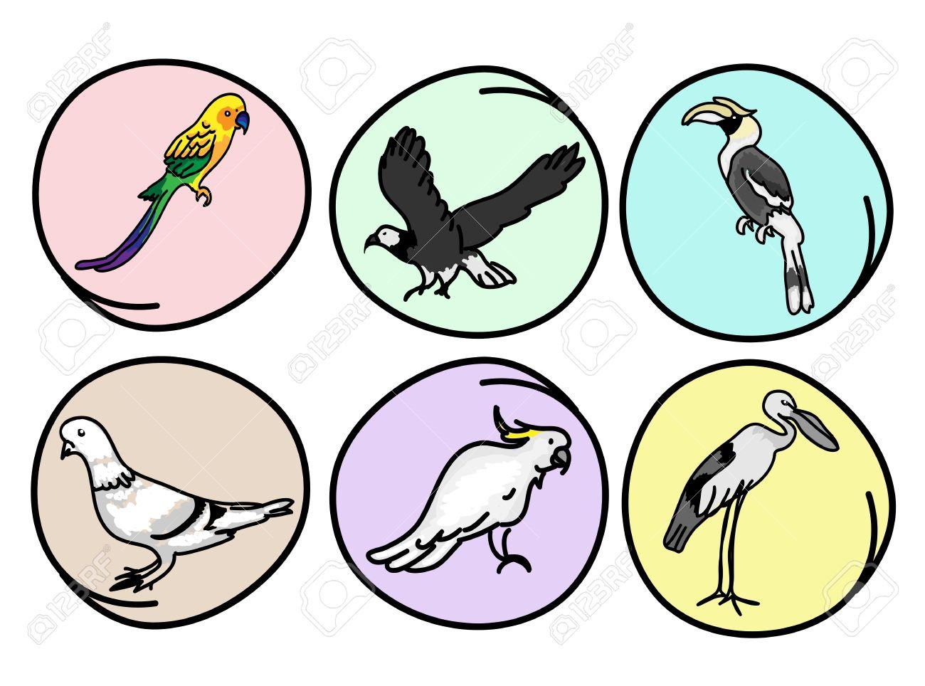 An Illustration Collection Of Beautiful Wild Birds, Great Hornbill.