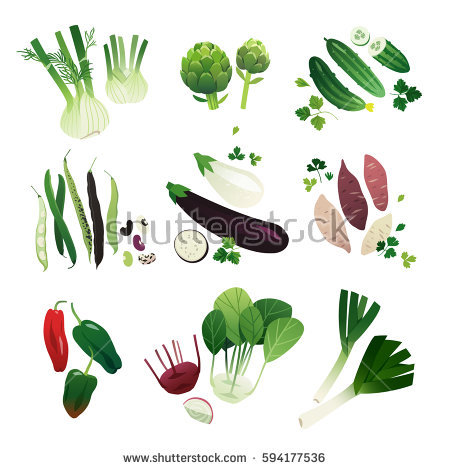 Clip Art Food Collection Vol2 Vegetables Stock Vector 358223618.