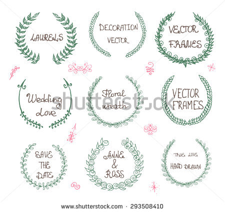Set Handdrawn Laurels Frames Stock Vector 176144783.