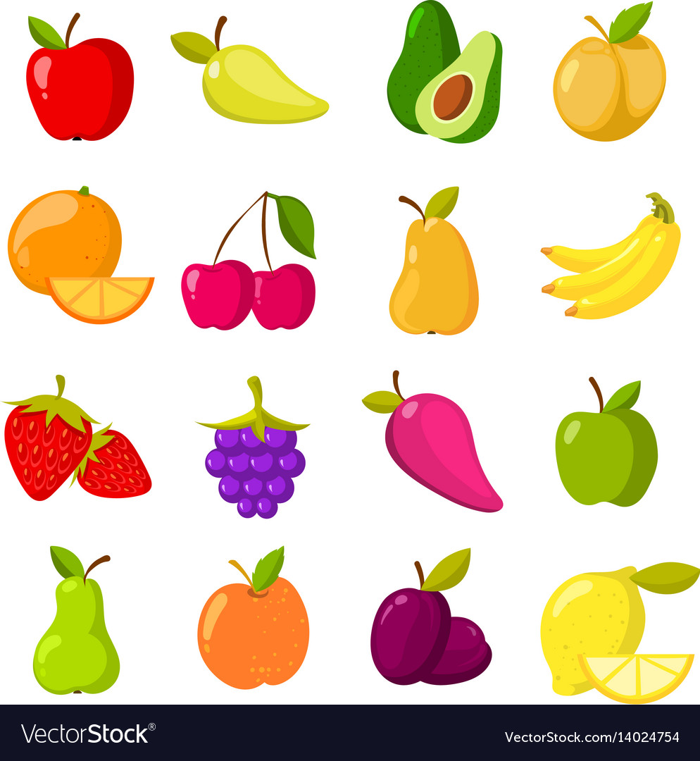 Cartoon fruits clipart collection isolated.