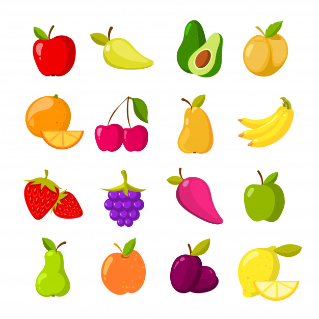 Cartoon fruits vector clipart collection Vector.