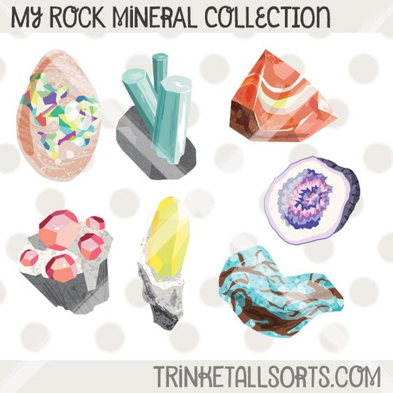My Rock Mineral Collection. Printable mineral clip art, perfect.