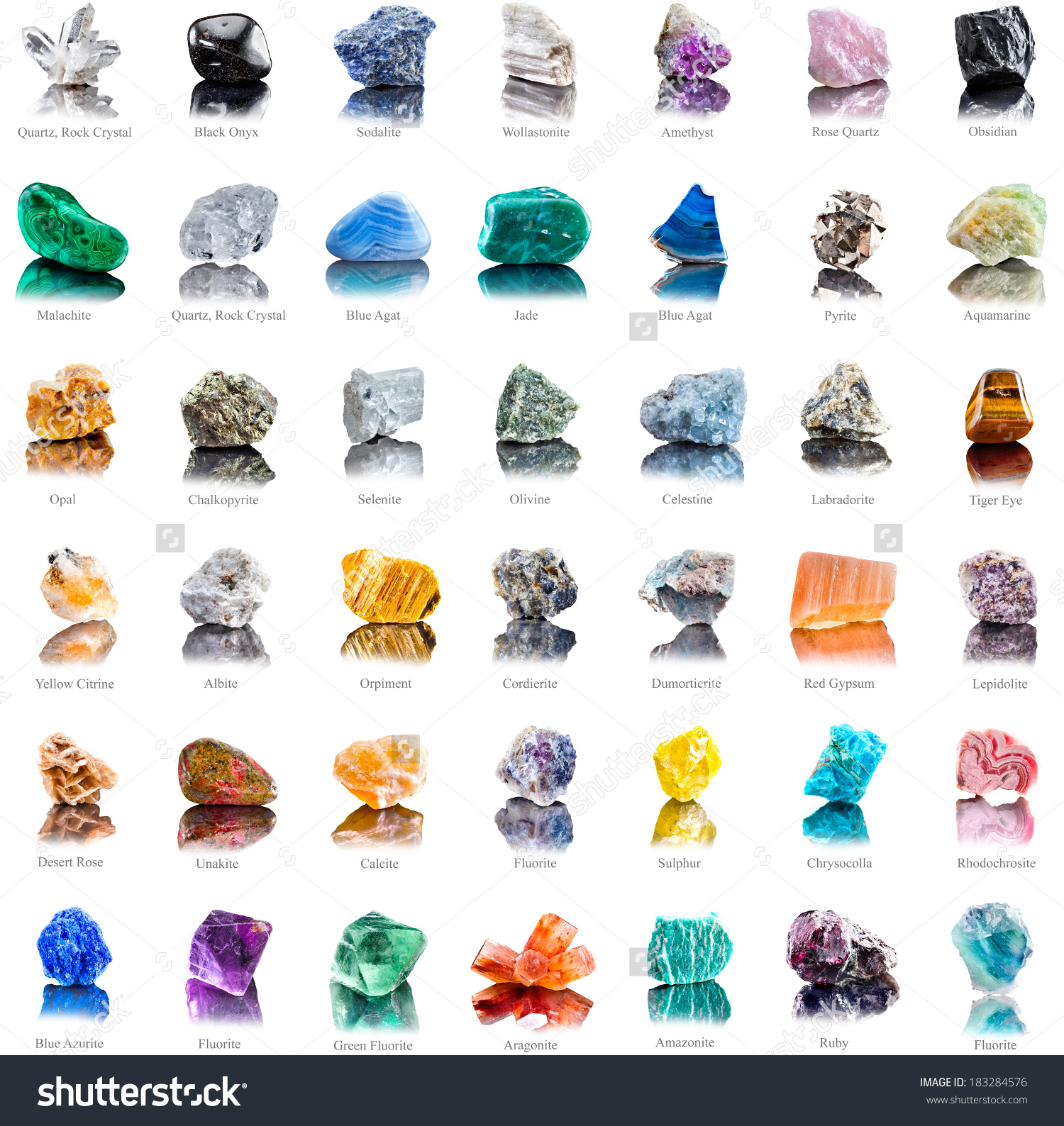 Collection Set Semiprecious Gemstones Stones Minerals Stock Photo.