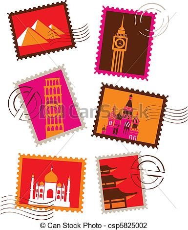 Vector Illustration of Landmarks stamps collection csp5825002.