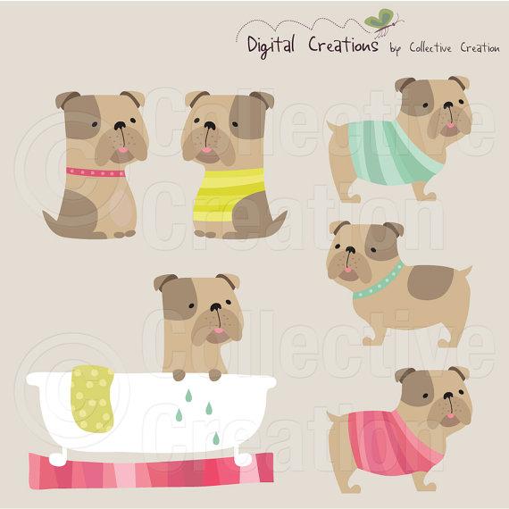 Bulldog Digital Clip Art Set uso Personal y por CollectiveCreation.