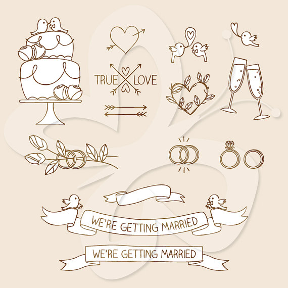 Wedding Elements Clip Art Clipart Set.