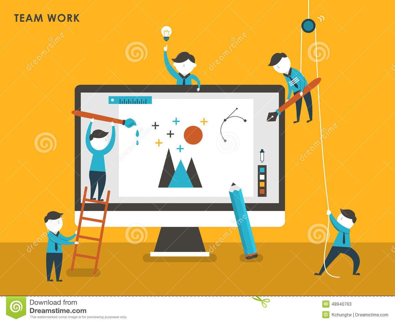 Collective Creation Concept In Flat Design Stock Vector.