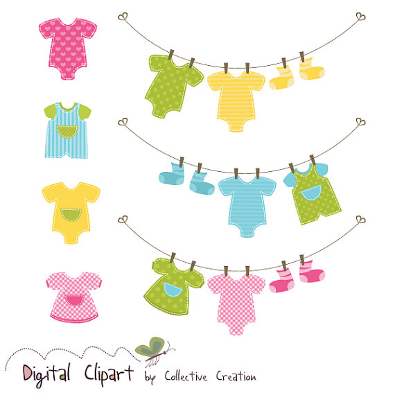 Baby Clothes Line & Onesies Clipart Set by CollectiveCreation.