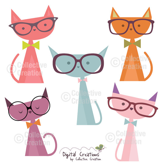 Cats wearing Glasses Digital Clip Art by CollectiveCreation.