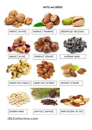 13 FREE ESL nuts worksheets.