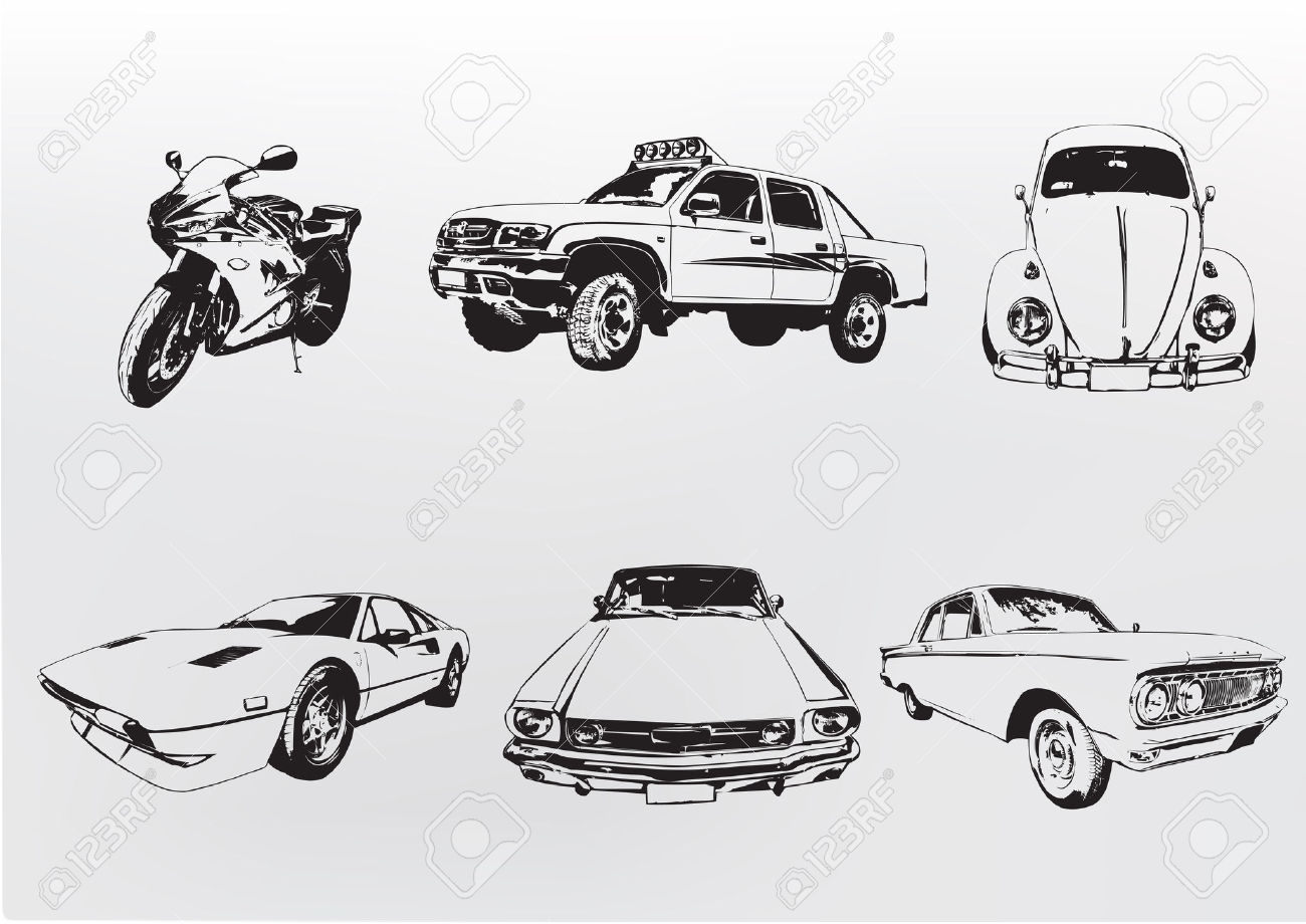 Silhouette Cars. Vector Illustration Of Old Vintage Custom.
