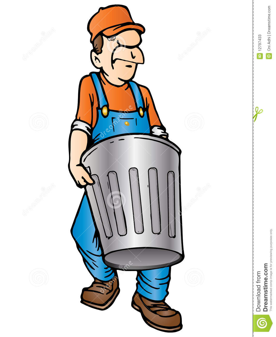 Trash collector clipart.