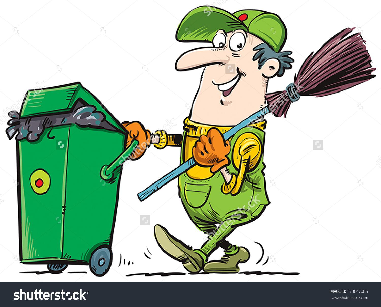 Trash collector clipart.