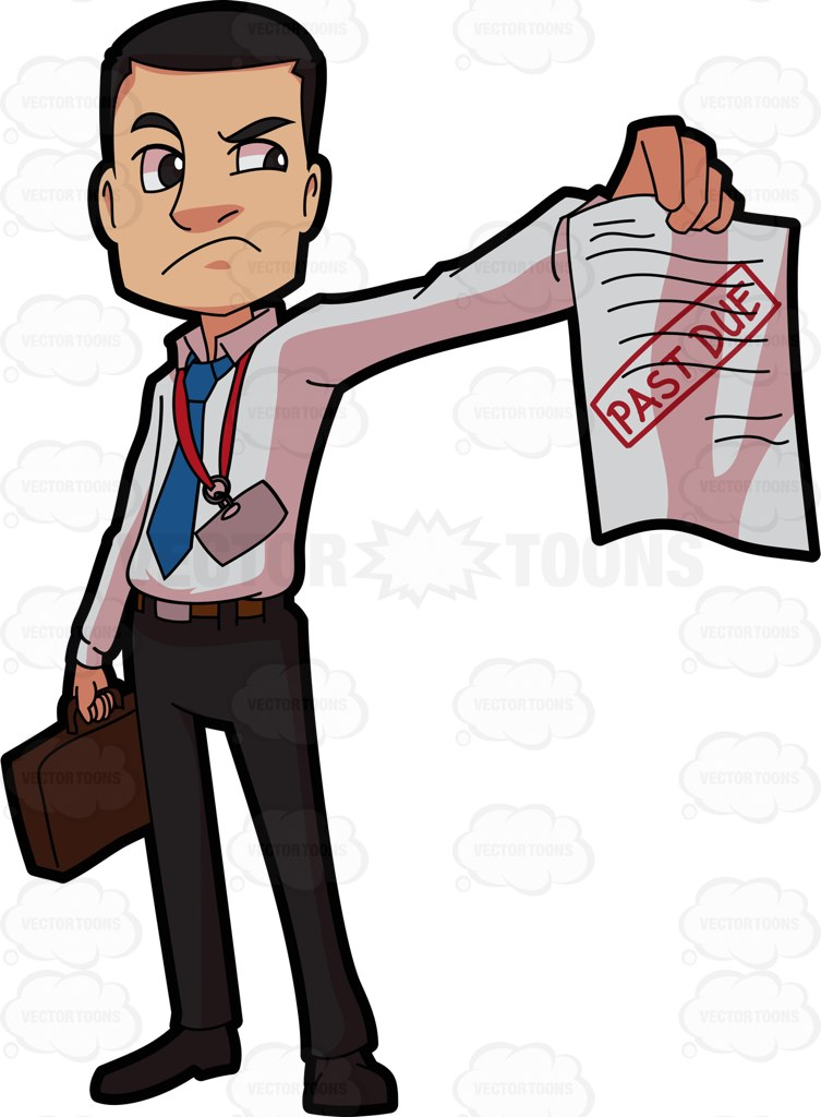 An Irritated Bill Collector Cartoon Clipart.