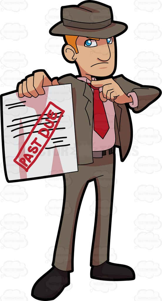 A Tough Bill Collector Delivering A Past Due Notice Cartoon Clipart.