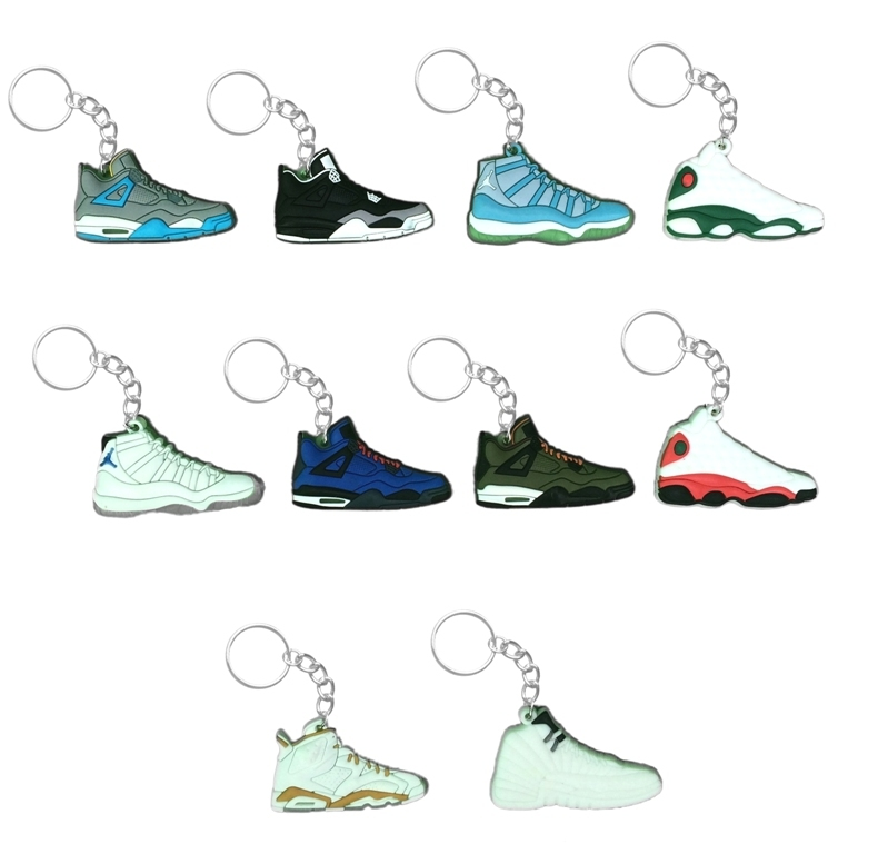 Nike Air Jordan Sneaker 2D Key Chains Collectors Item Set of 10.