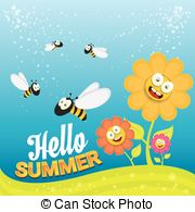 Vector Clipart of Funny bees collect nectar from flowers and carry.