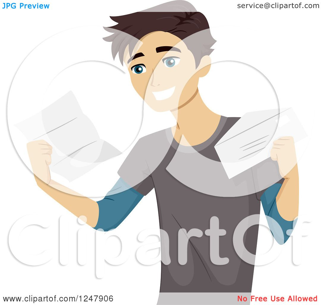 Clipart of a Happy College Student Receiving an Acceptance Letter.