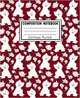 Composition Book College Ruled: Puppy Love Red Fashion Line.