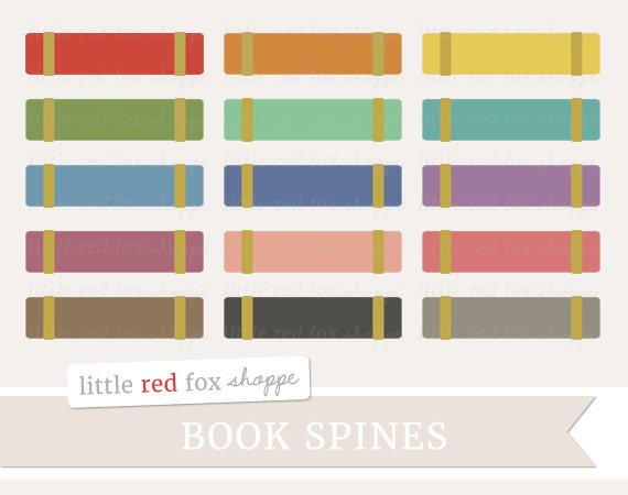 Book Spines Clipart, School Books Clip Art Vintage Library Textbook.