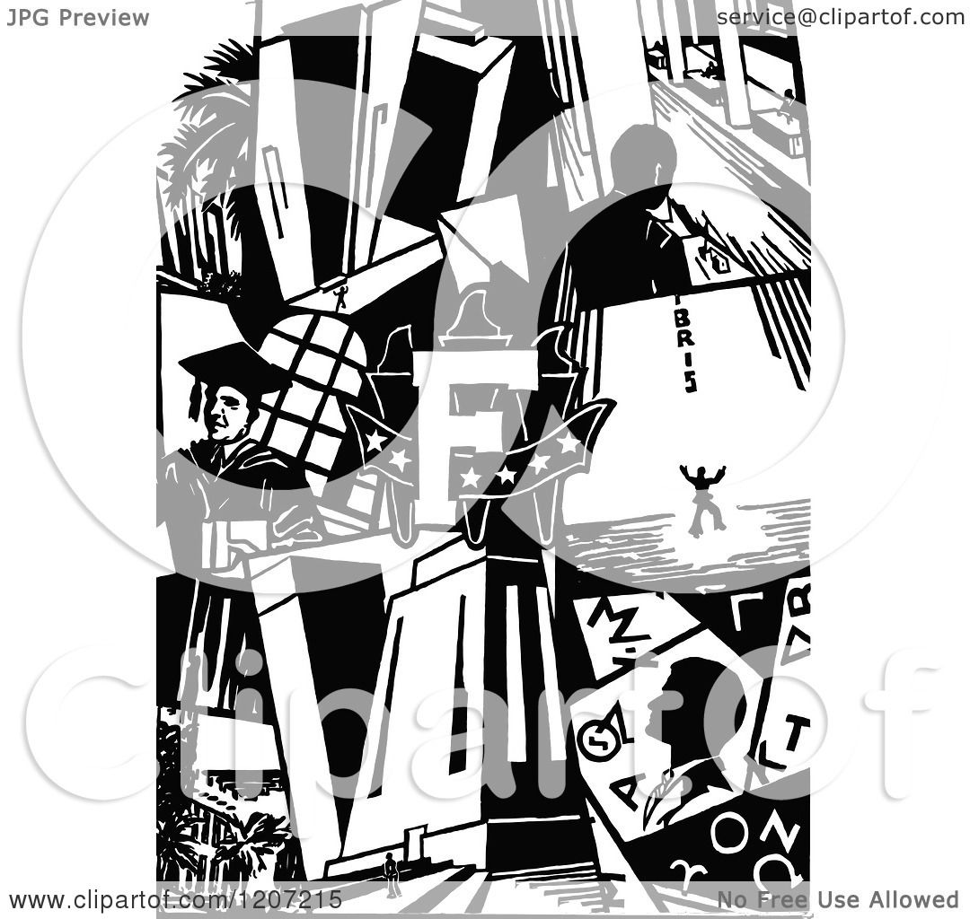 Clipart Of A Vintage Black And White Colla #113330.