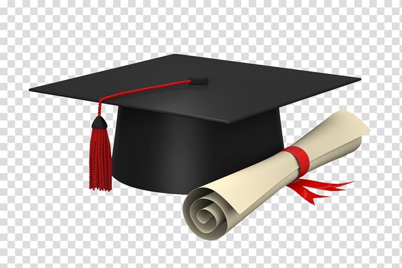 Black mortar board and certificate , Diploma Square academic cap.
