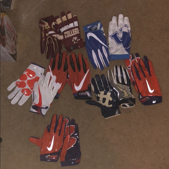 Game used football Gloves.