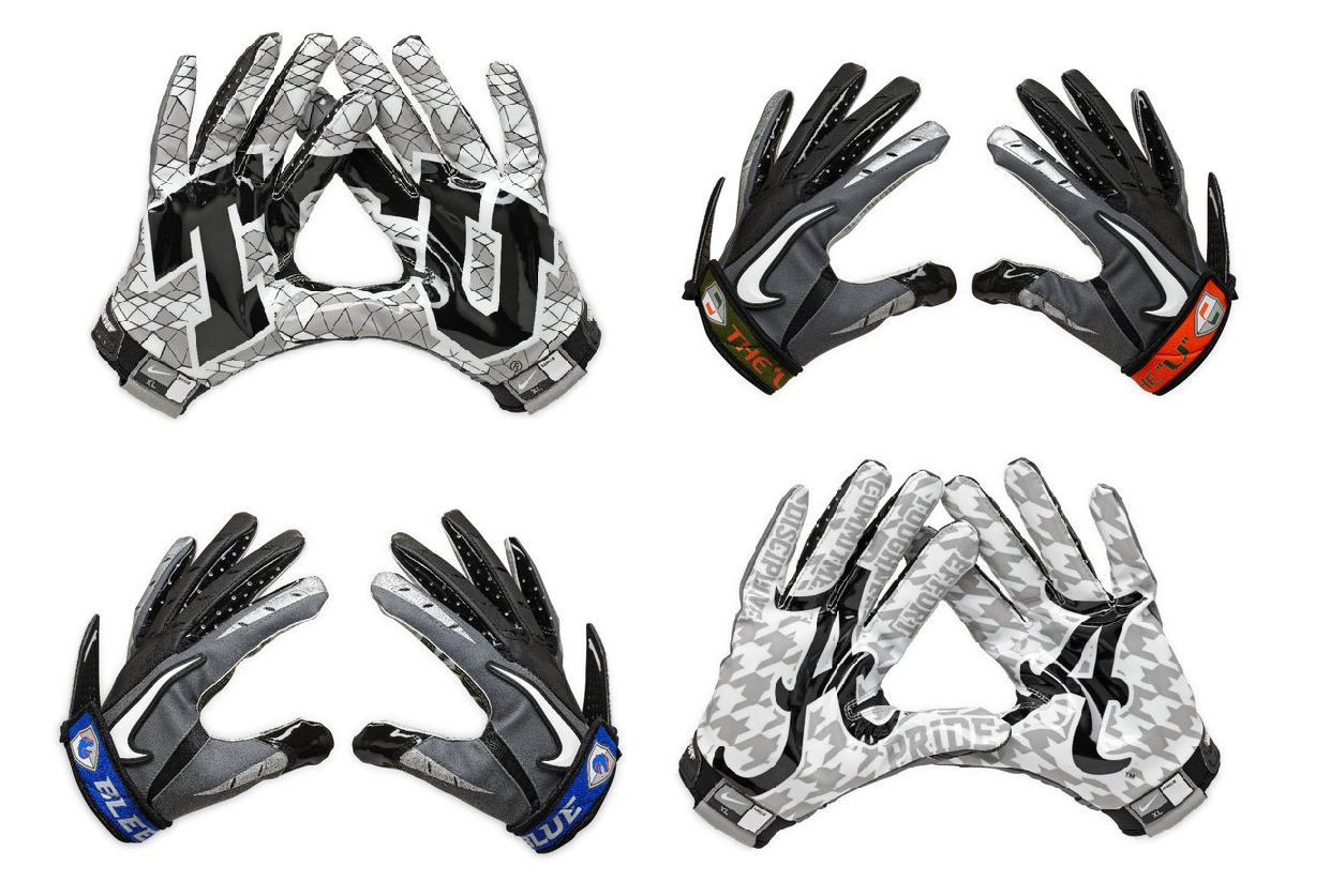 cheap college football gloves with team on glove.