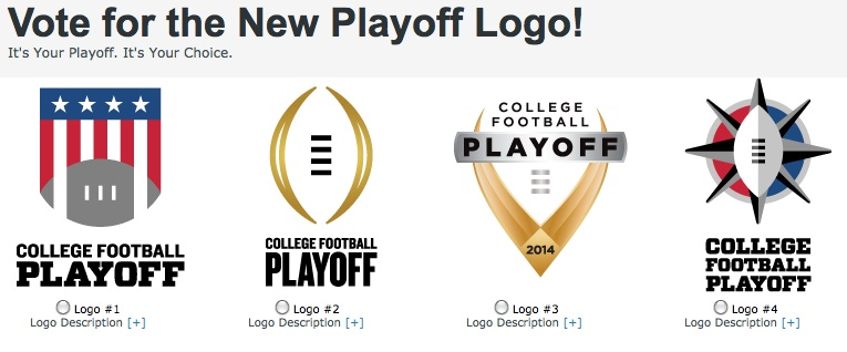 College Football Playoff having logo vote, with trophy.