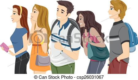 College Class With Girl Students Clipart.