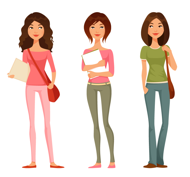 College Function With Girl Students Clipart.