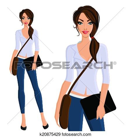 College Girl Hd Clipart.