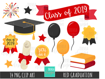 GRADUATION clipart, school clipart, college, DIPLOMA, CLASS OF, RED.